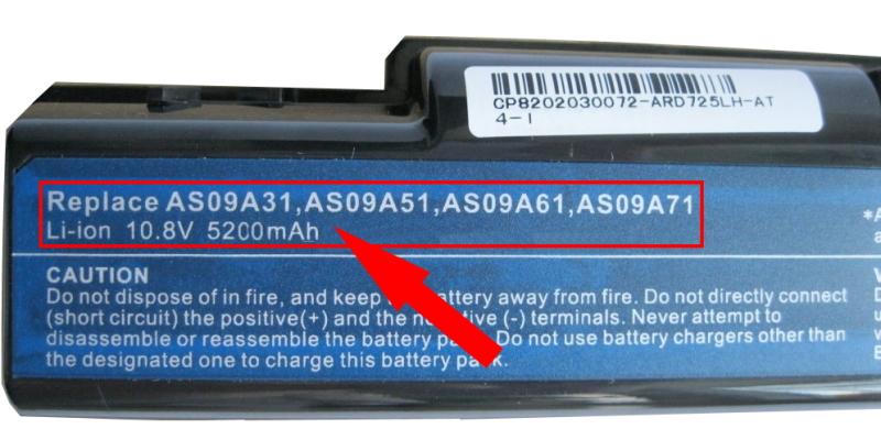Извлечь батарею из ноутбука для определения модели